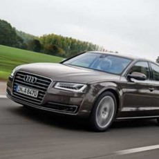 The updated Audi A8 luxury saloon driven in Germany