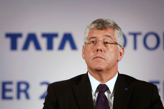 Image: Karl Slym, managing director of Tata Motors, looks on during news conference to announce their second quarter results in Mumbai
