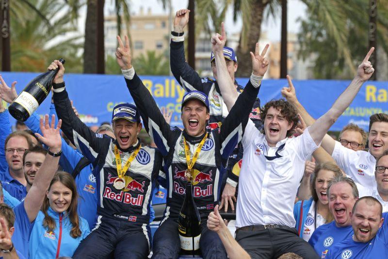 Ola Fløene (N), Andreas Mikkelsen (NOR), Richard Browne WRC Rally Spain 2015