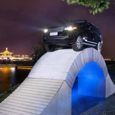 Range Rover Celebrate 45 years by driving on a paper bridge
