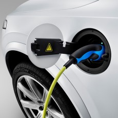 The connector for the all-new Volvo XC90 Twin Engine charge cable is located above the left front wheel arch.