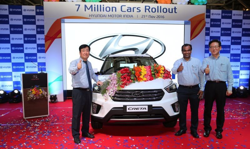 Hyundai celebrates the rollout of the seven millionth car from their Chennai plant