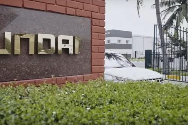 The Hyundai Venue test car in Chennai plant