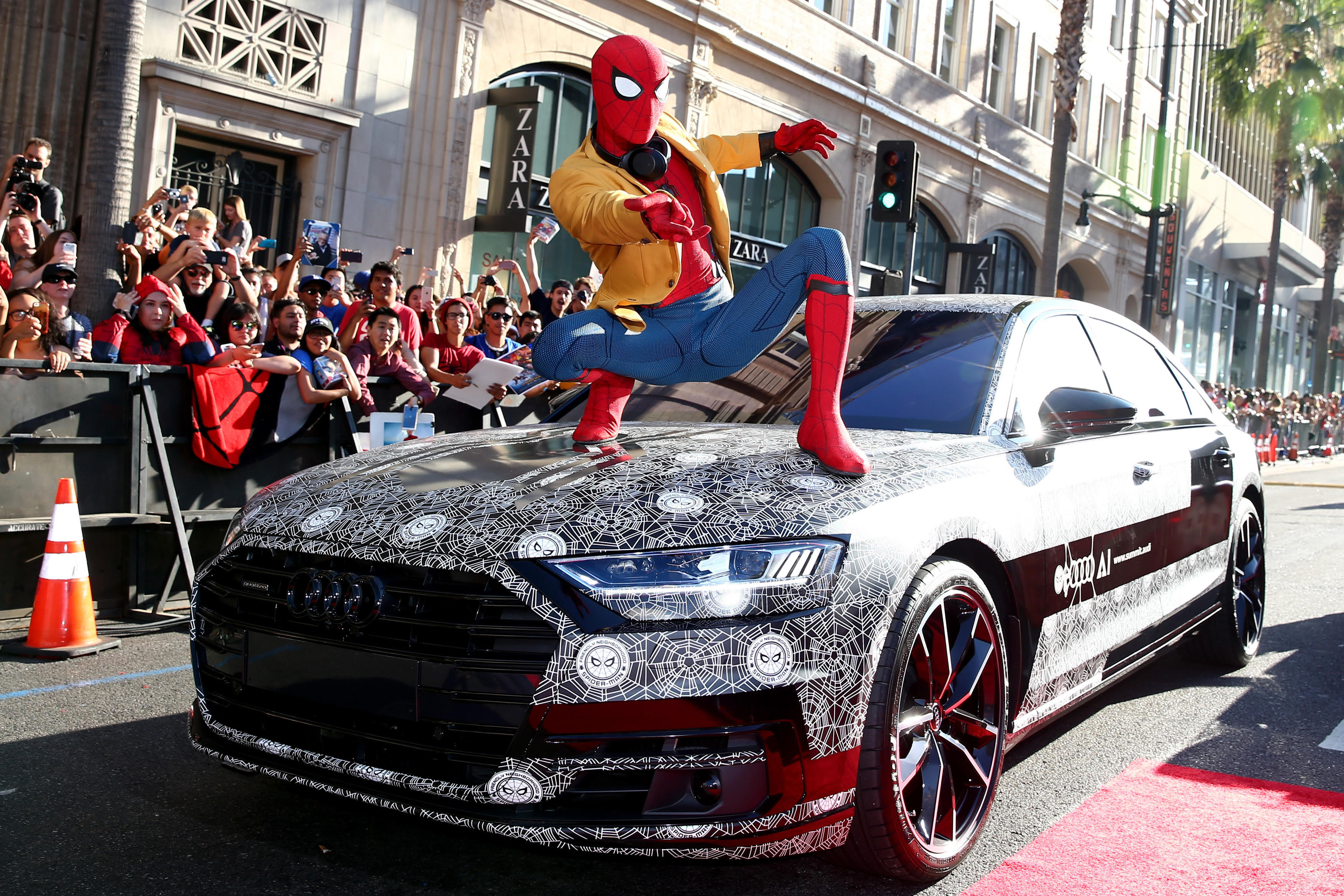Spider-Man spotted on his brand new Audi A8