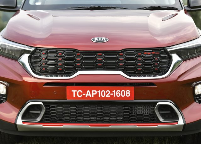 Kia Sonet tiger nose front grille design in Car India