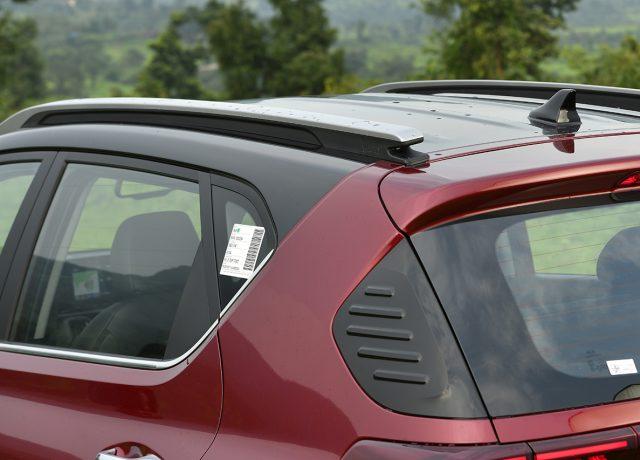Kia Sonet rear design roof rail in Car India